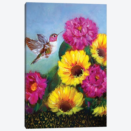 Joyful Hummingbird With Sunshine Spring Sunflowers And Peonies Canvas Print #RHN38} by Rohini Mathur Art Print