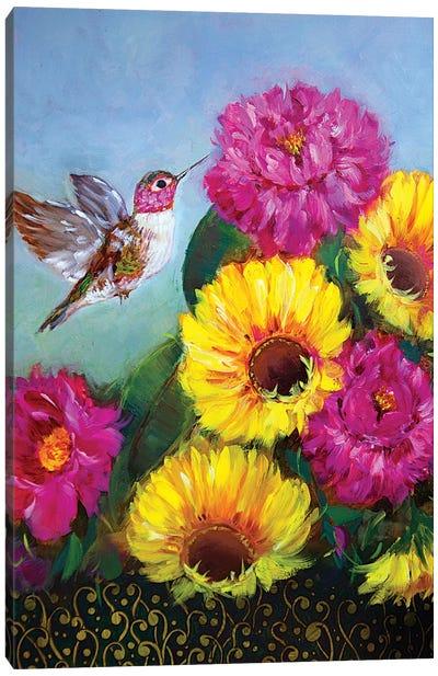 Joyful Hummingbird With Sunshine Spring Sunflowers And Peonies Canvas Art Print