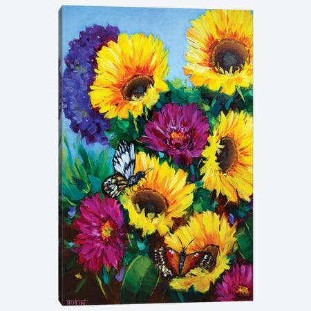 Sunkissed Sunflowers And The Daily Garden Visitors Canvas Print #RHN39} by Rohini Mathur Canvas Print