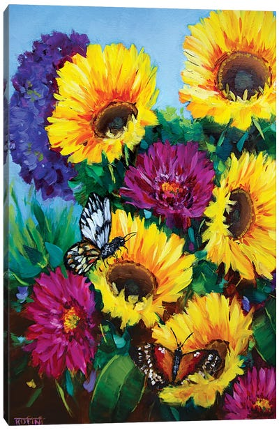 Sunkissed Sunflowers And The Daily Garden Visitors Canvas Art Print
