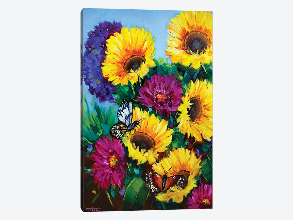 Sunkissed Sunflowers And The Daily Garden Visitors by Rohini Mathur 1-piece Canvas Print