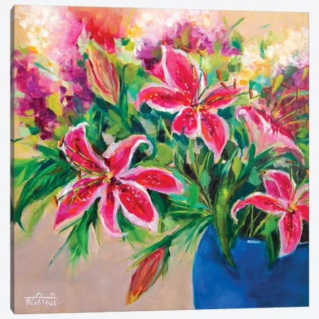 Blossoming Stargazer Lilies Canvas Print #RHN3} by Rohini Mathur Canvas Print