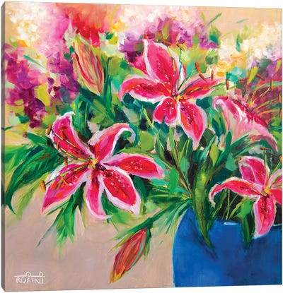 Blossoming Stargazer Lilies Canvas Art Print