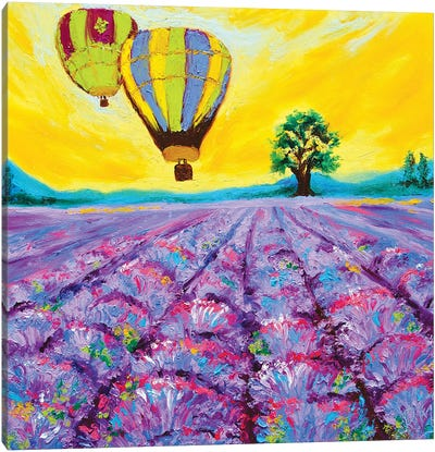 Sunset Ride Over The Lavender Fields Canvas Art Print