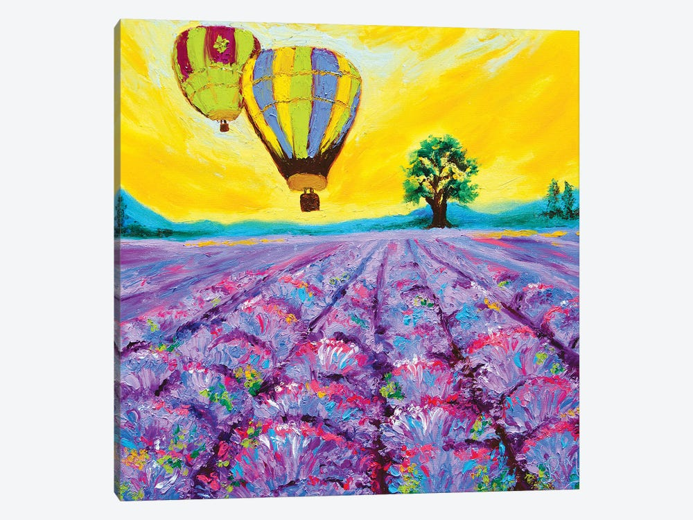 Sunset Ride Over The Lavender Fields by Rohini Mathur 1-piece Canvas Wall Art
