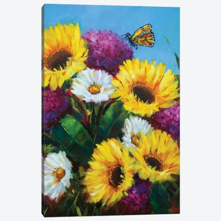 Sunkissed Sunshine Sunflowers And The Curious Butterfly Canvas Print #RHN46} by Rohini Mathur Canvas Print