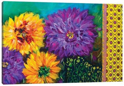 Color Splash Summer Dahlias Garden Canvas Art Print