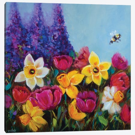 Dancing Spring Daffodils And Rainbow Tulips Garden Canvas Print #RHN5} by Rohini Mathur Canvas Art