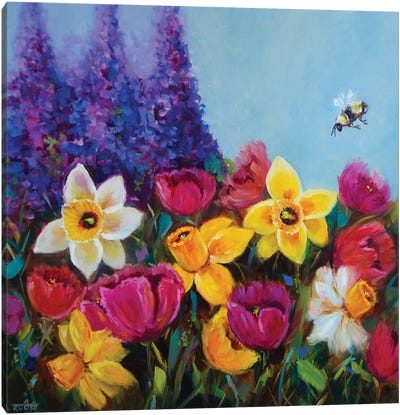 Dancing Spring Daffodils And Rainbow Tulips Garden Canvas Art Print