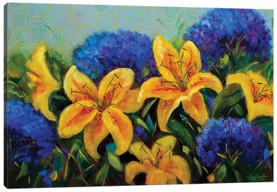 Dazzling Yellow Lilies And Pretty Blue Hydrangeas Canvas Art Print
