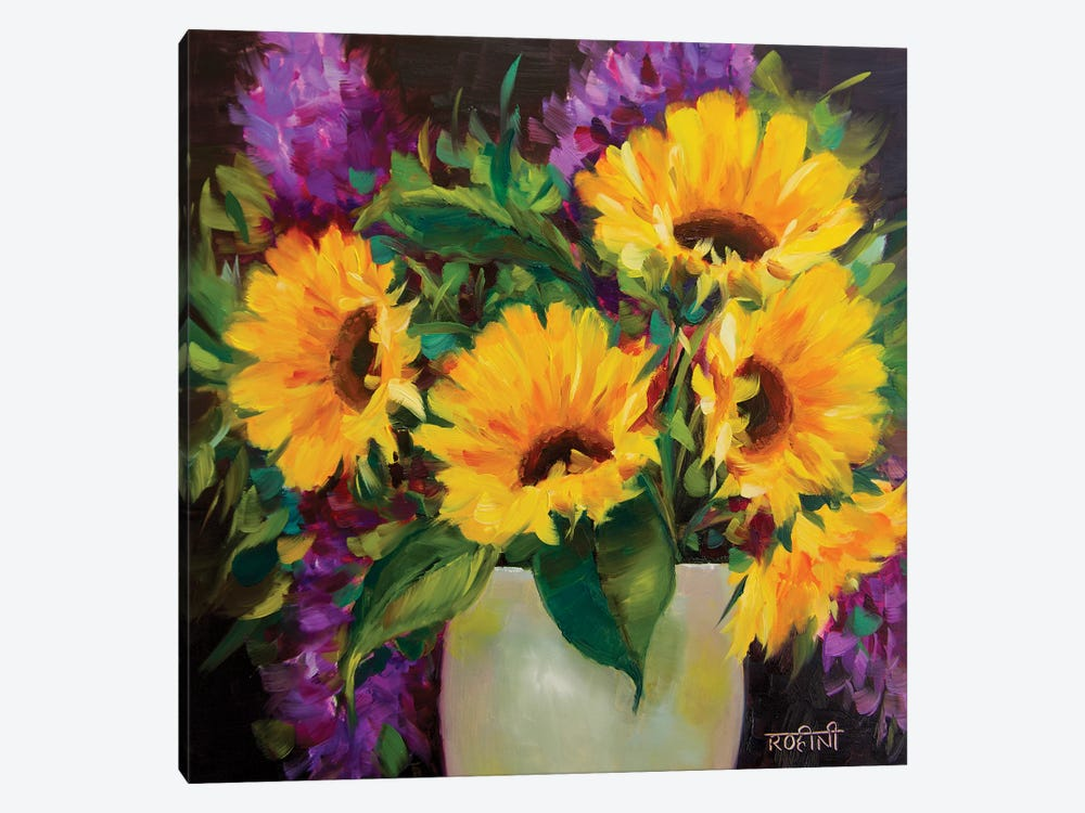 Drama Queen Sunflowers by Rohini Mathur 1-piece Canvas Art