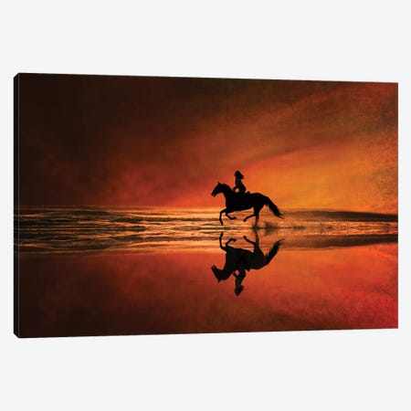 Sunset On The Beach Canvas Print #RHT39} by Rhonda Thompson Canvas Print