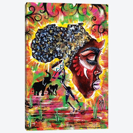 Mama Afrika Canvas Print #RIA46} by Artist Ria Canvas Art Print