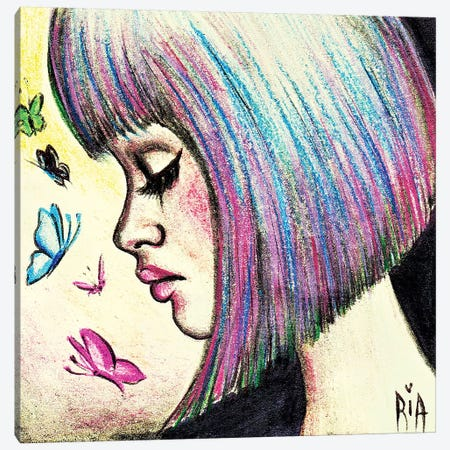 Wish I Felt Those Butterflies Instead Of Your Lies 3-Piece Canvas #RIA86} by Artist Ria Art Print