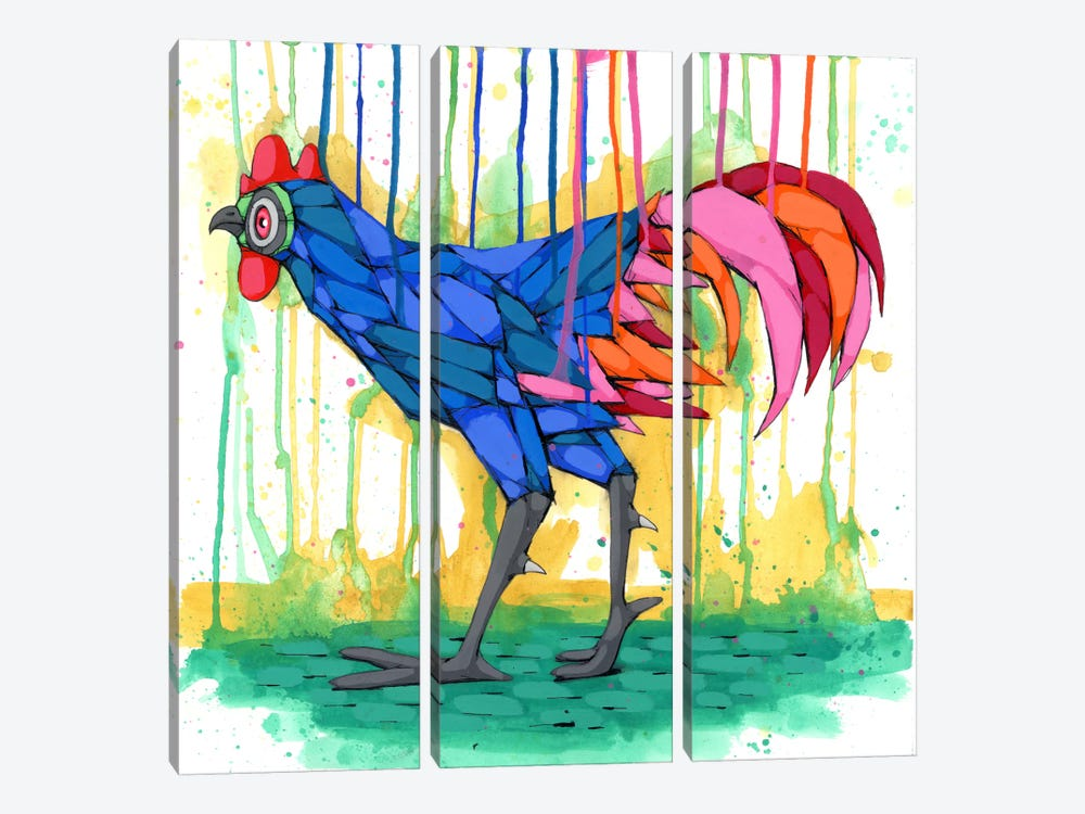 Cool Rooster by Ric Stultz 3-piece Canvas Wall Art
