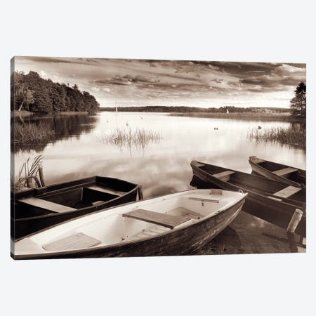 Lake W Boats Canvas Print #RII4} by Rig Studios Canvas Wall Art