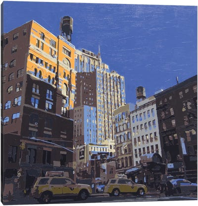 Downtown Water Towers Canvas Art Print