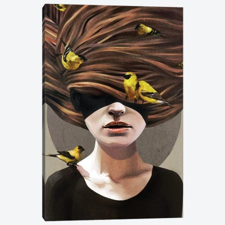 Girl With Finches Canvas Print #RIR14} by Ruben Ireland Canvas Print
