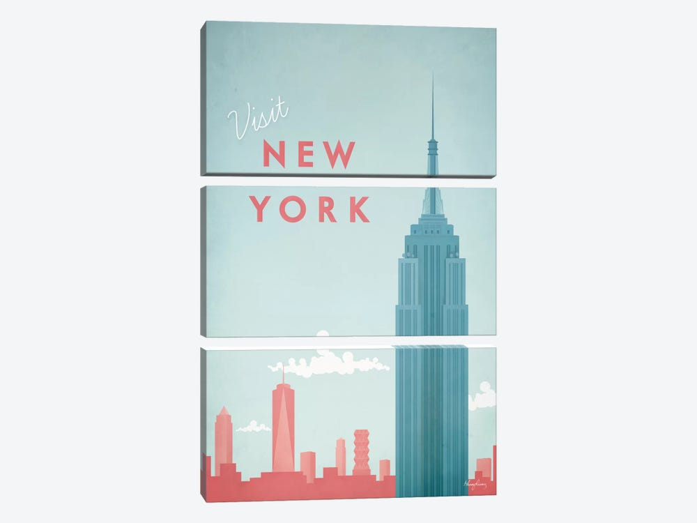 New York by Henry Rivers 3-piece Canvas Art