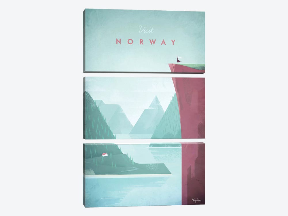 Visit Norway by Henry Rivers 3-piece Canvas Art Print
