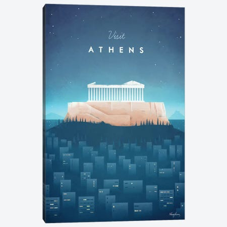 Visit Athens Canvas Print #RIV20} by Henry Rivers Canvas Print