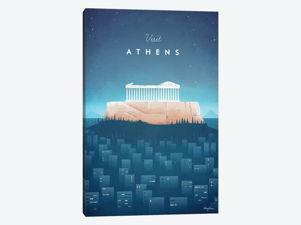 Visit Athens by Henry Rivers 1-piece Canvas Art Print