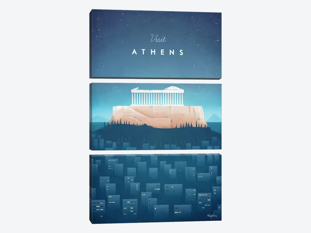 Visit Athens by Henry Rivers 3-piece Canvas Print