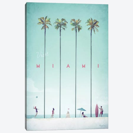 Visit Miami Canvas Print #RIV21} by Henry Rivers Art Print