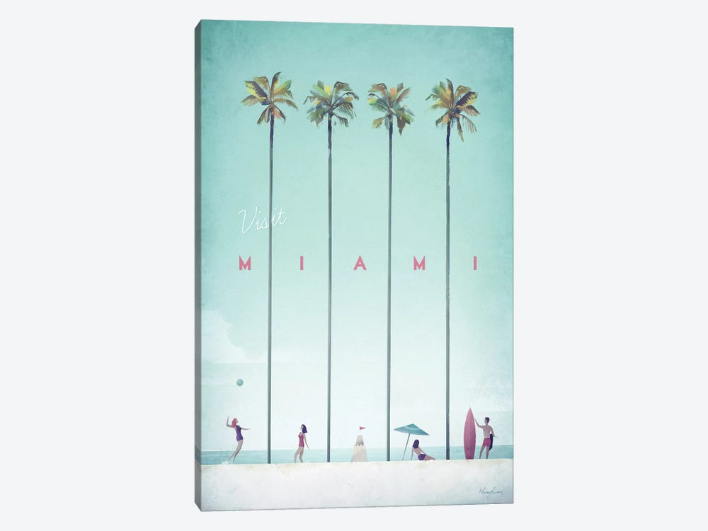 Visit Miami by Henry Rivers 1-piece Canvas Wall Art