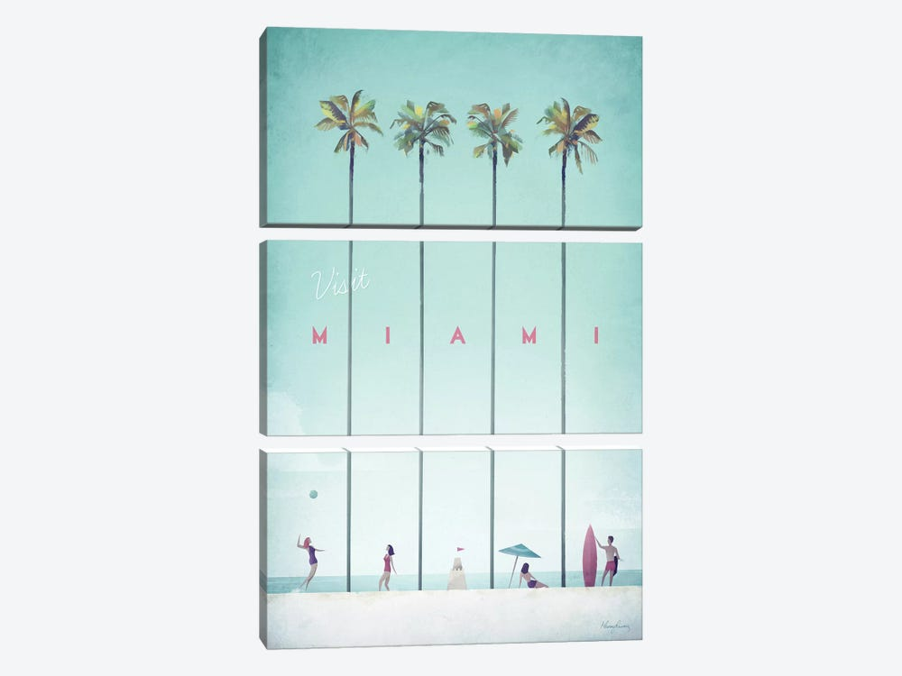 Visit Miami by Henry Rivers 3-piece Canvas Wall Art