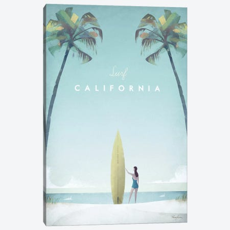 Surf California Canvas Print #RIV22} by Henry Rivers Canvas Art Print