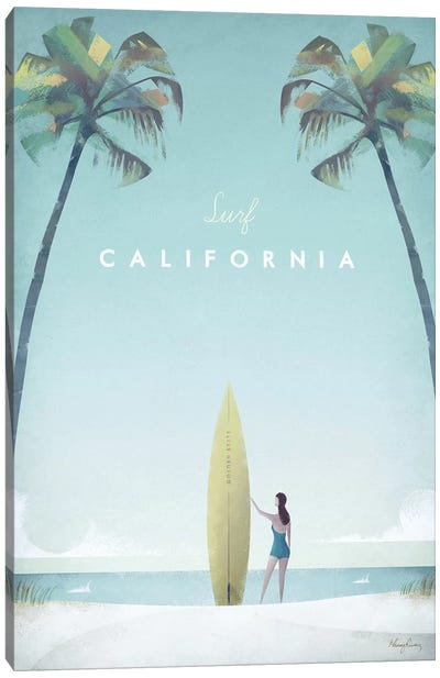 Surf California Canvas Art Print