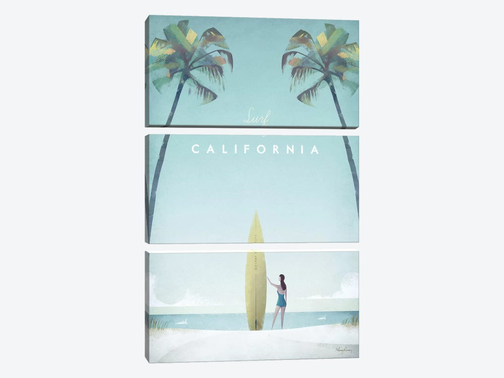 Surf California by Henry Rivers 3-piece Art Print