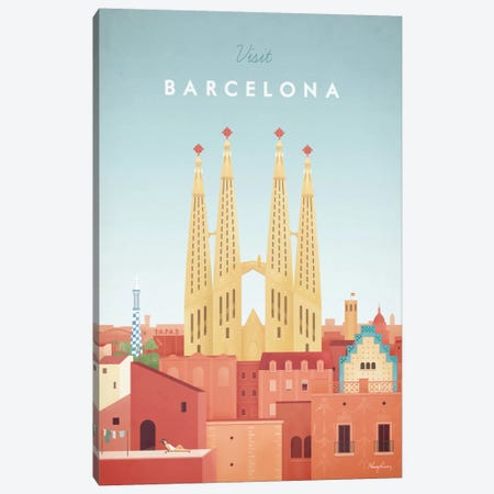 Barcelona Canvas Print #RIV2} by Henry Rivers Art Print