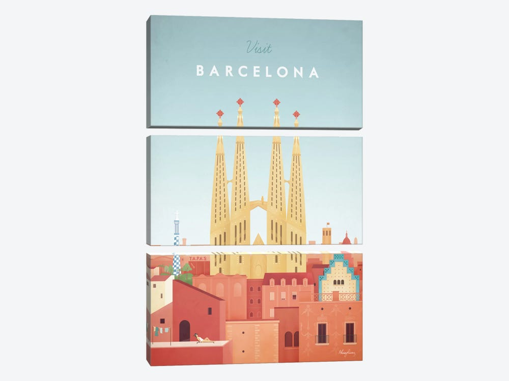 Barcelona by Henry Rivers 3-piece Canvas Print