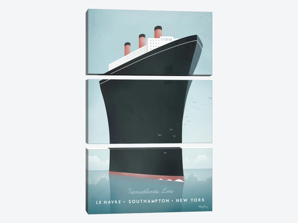 Cruise Ship by Henry Rivers 3-piece Art Print