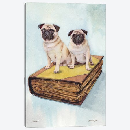 Pugs On Old Book Canvas Print #RJR25} by REME Jr Canvas Art