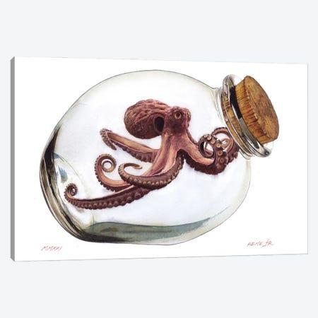 Octopus In Bottle II Canvas Print #RJR27} by REME Jr Canvas Art