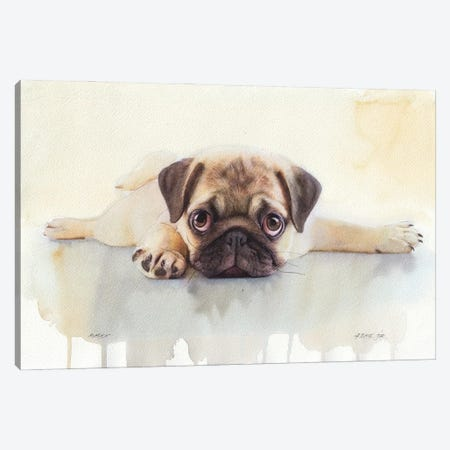 Pug V Canvas Print #RJR31} by REME Jr Canvas Wall Art