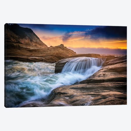 Cape Kiwanda Tides Canvas Print #RKB10} by Rick Berk Art Print