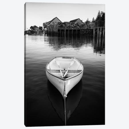 Dory In Bernard Harbor Black And White Canvas Print #RKB14} by Rick Berk Canvas Art