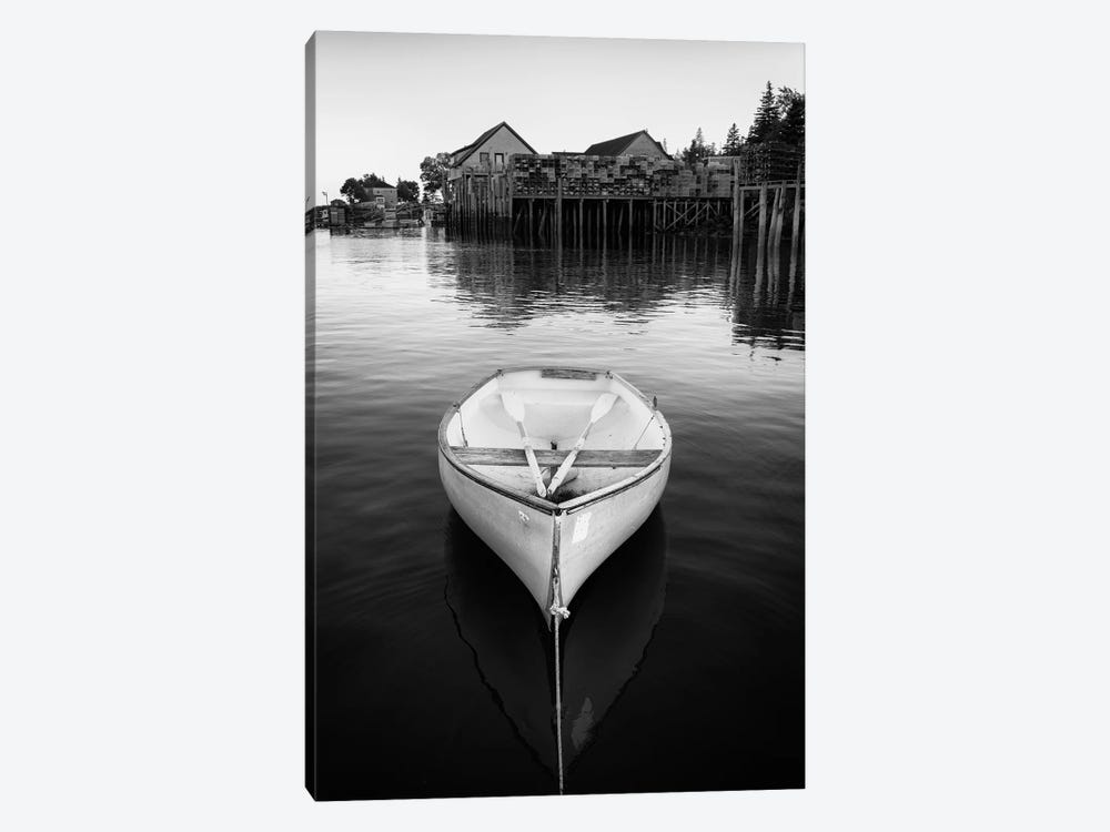 Dory In Bernard Harbor Black And White by Rick Berk 1-piece Canvas Wall Art