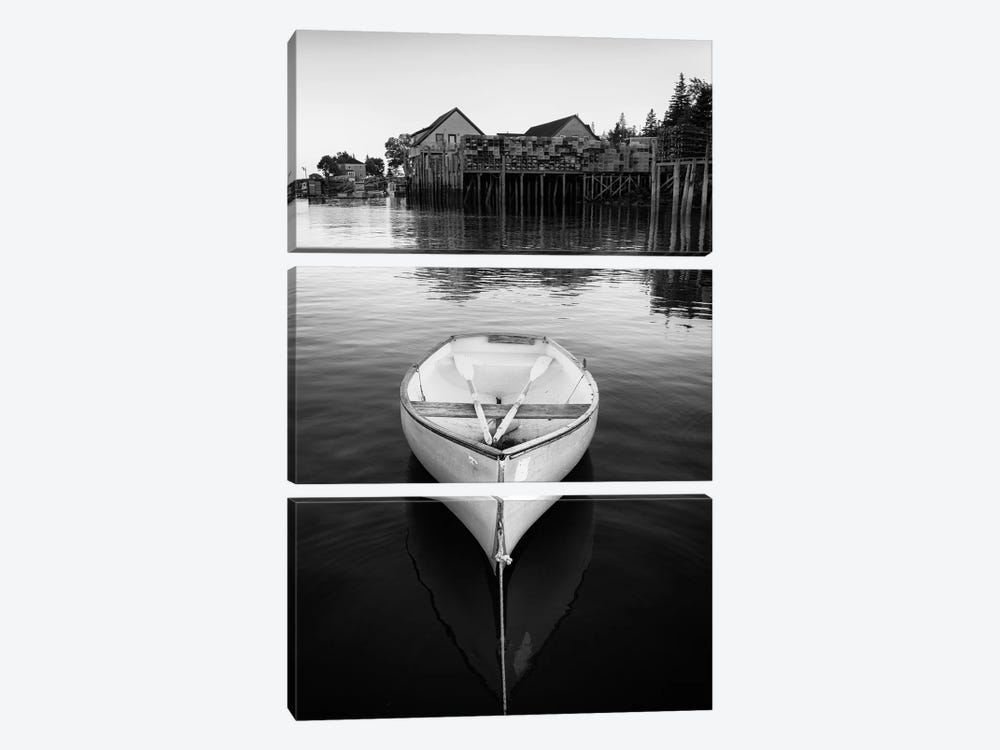 Dory In Bernard Harbor Black And White by Rick Berk 3-piece Canvas Art