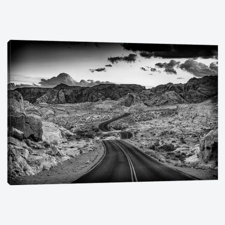Dusk On The Open Road Black And White Canvas Print #RKB15} by Rick Berk Canvas Art