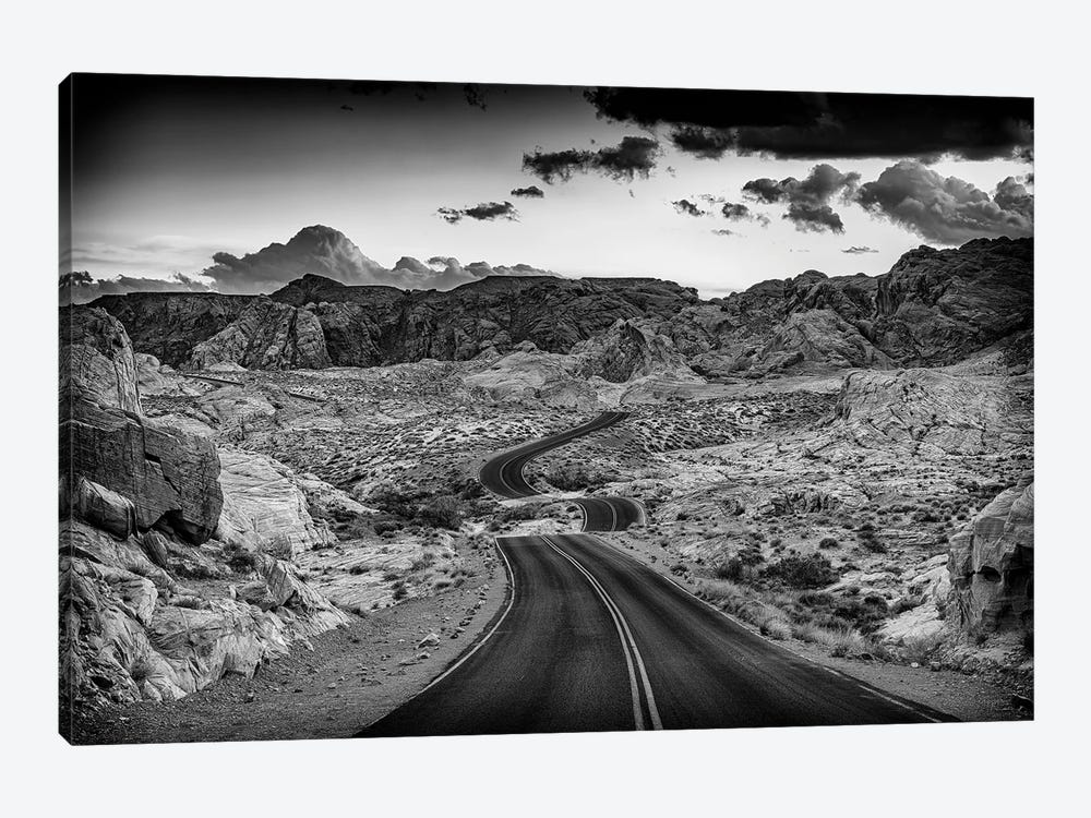 Dusk On The Open Road Black And White by Rick Berk 1-piece Canvas Art Print