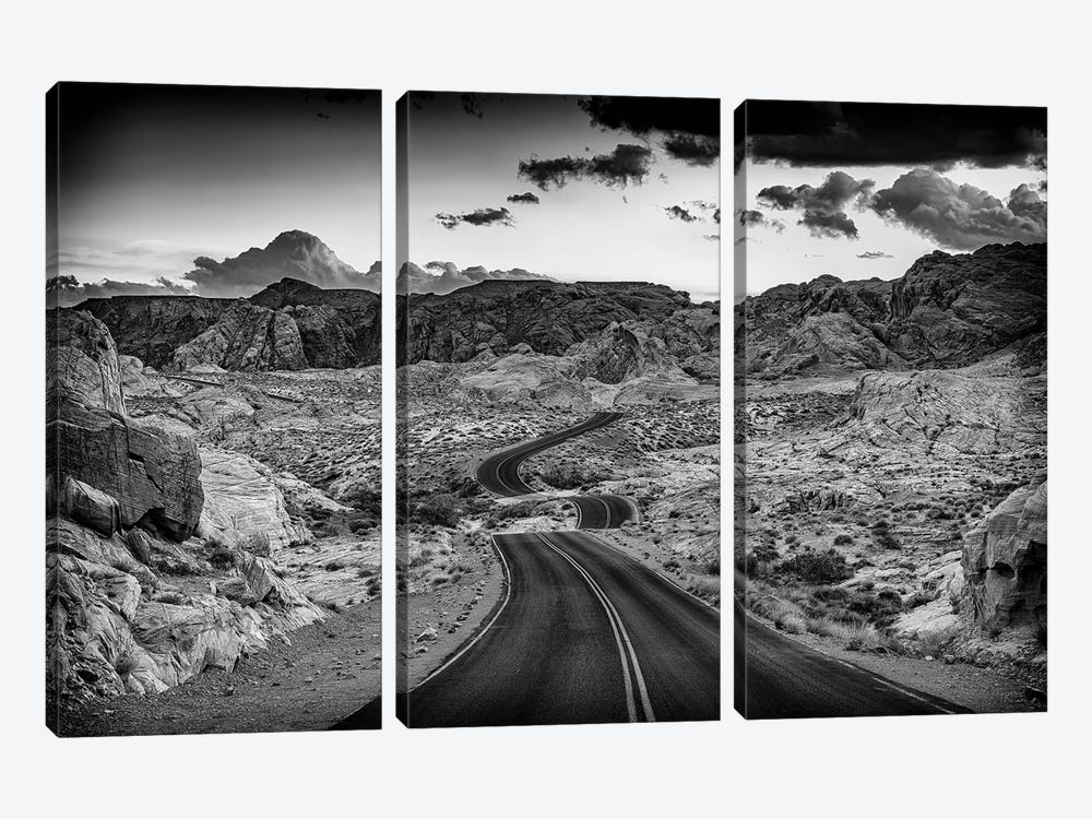 Dusk On The Open Road Black And White by Rick Berk 3-piece Art Print