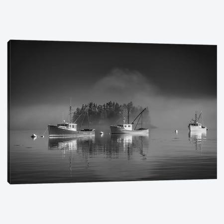 Misty Morning On Johnson Bay Black And White Canvas Print #RKB21} by Rick Berk Canvas Wall Art