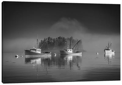 Misty Morning On Johnson Bay Black And White Canvas Art Print