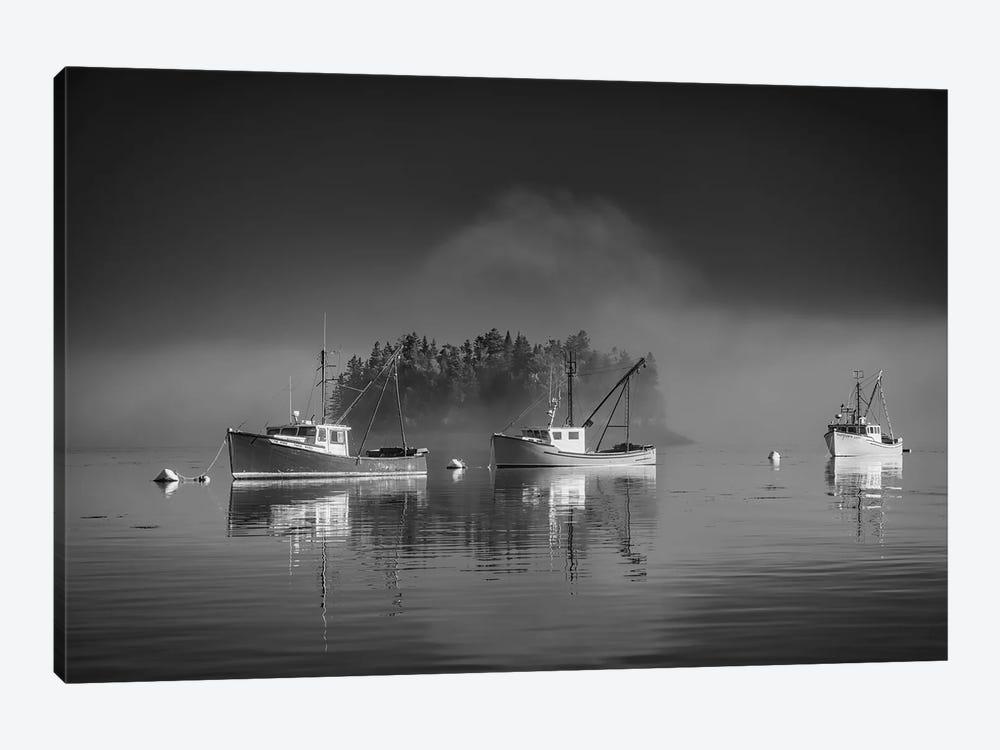 Misty Morning On Johnson Bay Black And White by Rick Berk 1-piece Canvas Artwork