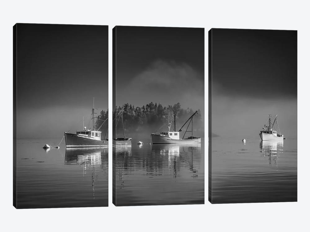 Misty Morning On Johnson Bay Black And White by Rick Berk 3-piece Canvas Artwork